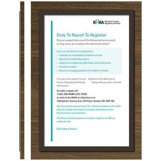 RHRA Mandatory Poster Individual Board TABFrame - Meter