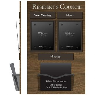 Resident Council Board MAGFrames with Titles and Holder for Meeting Minutes - Minutes