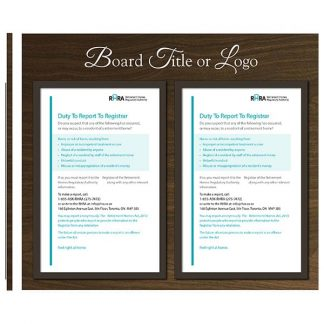 """Two 11"""" X 17"""" TABFrames with Header (for displaying Ontario RHRA regulatory poster) - Meter"""