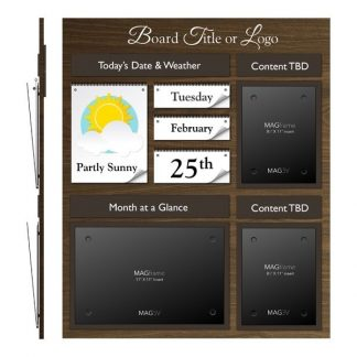 Date & Weather Board Featuring Two Portrait Letter MAGFrames and One Landscape Tabloid MAGFrame with Frame and Titles - Weather