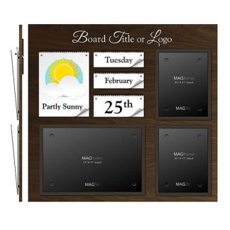 Date & Weather Board Featuring Two Portrait Letter MAGFrames and One Landscape Tabloid MAGFrame with Board Title - Bulletin Board