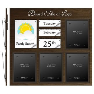 Date & Weather Board Featuring  Four Portrait Letter MAGFrames and a Header - Communication