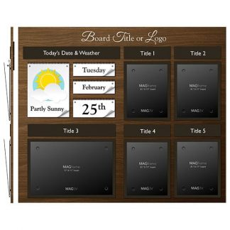 Date & Weather Board Featuring Four Portrait Letter MAGFrames and One Landscape Tabloid MAGFrame with Frame and Titles - Weather