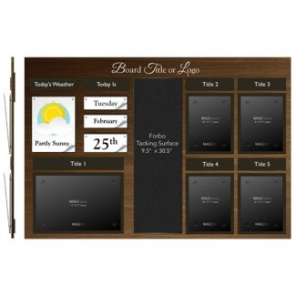 Date & Weather Board with Four Portrait Letter MAGFrames and One Landscape Tabloid plus Forbo Tacking Surface with Titles - Product