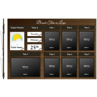 Date & Weather Board with Six Portrait MAGFrames and One Landscape Tabloid MAGFrame - Weather