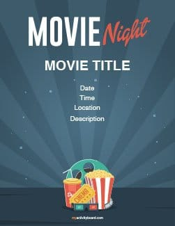Movie Night Poster Template from myactivityboard.com
